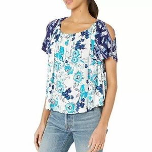 Free People Blue White Baja Babe Cold Shoulder Top